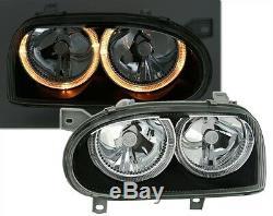 2 Headlight Angel Eyes Vw Volkswagen Golf 3 D Td Tdi Lights Black Crystal Fk