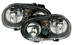 2 Headlights Volkswagen Golf 4 Gti Sdi Tdi 90 1 Black Smooth Ice Cream