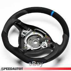 Focus Flattened Leather Steering Vw Golf 4 Bora Passat 3b Gti Blue Ring