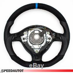 Focusing Aplati Leather Steering Wheel Vw Golf 4, Passat 3b, Bora, Gti Blue Ring
