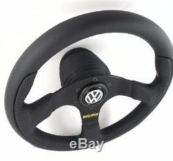 Genuine Momo Steering Team 300mm Leather Hub Kit & Horn Vw. Volkswagen