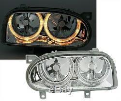 Headlights Angel Eyes Vw Volkswagen Golf 3 Vr6 Front Gt Gti Chrome Crystal Fk