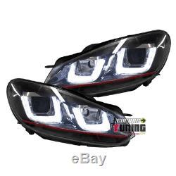 Headlights Daytime Running Lights Drl Black Vw Volkswagen Golf 6 Gti (03967)
