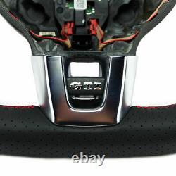 Mfa Volant Sport Flattened Leather Perforated Multifunction Vw Golf 6 VI Gti Black