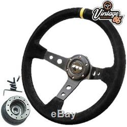 Vw Golf Mk1 Gti 340mm Style Rally Alcantara Steering Wheel & Boss Installation Kit