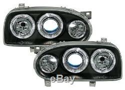 2 Phare Angel Eyes Vw Volkswagen Golf 3 Tous Modeles Feux Avant Noir Cristal Led
