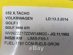 Bloc Compteurs Vitesse VW Golf MK1 1800 GTI 171919033AM 008203003