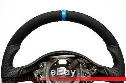 Mise au Point Aplati Volant en Cuir VW Golf 4 Bora Passat 3B Gti Bleu Anneau