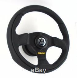 Véritable Momo Équipe 280mm Volant Cuir, Moyeu Kit Et Corne. Volkswagen VW